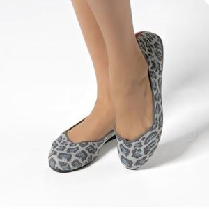 Rothy's grey spotted leopard round toe flats